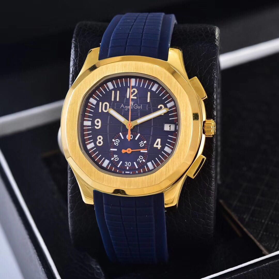 Luxury Brand New Automatic Mechanical Men Yellow Gold Blue Rubber Sapphire Stainless Steel Transparent Glass Black Sport Watch