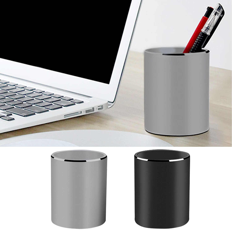 Redonda de aleación de aluminio portalápices maceta escritorio organizador taza contenedor para lápiz pinceles de maquillaje regla