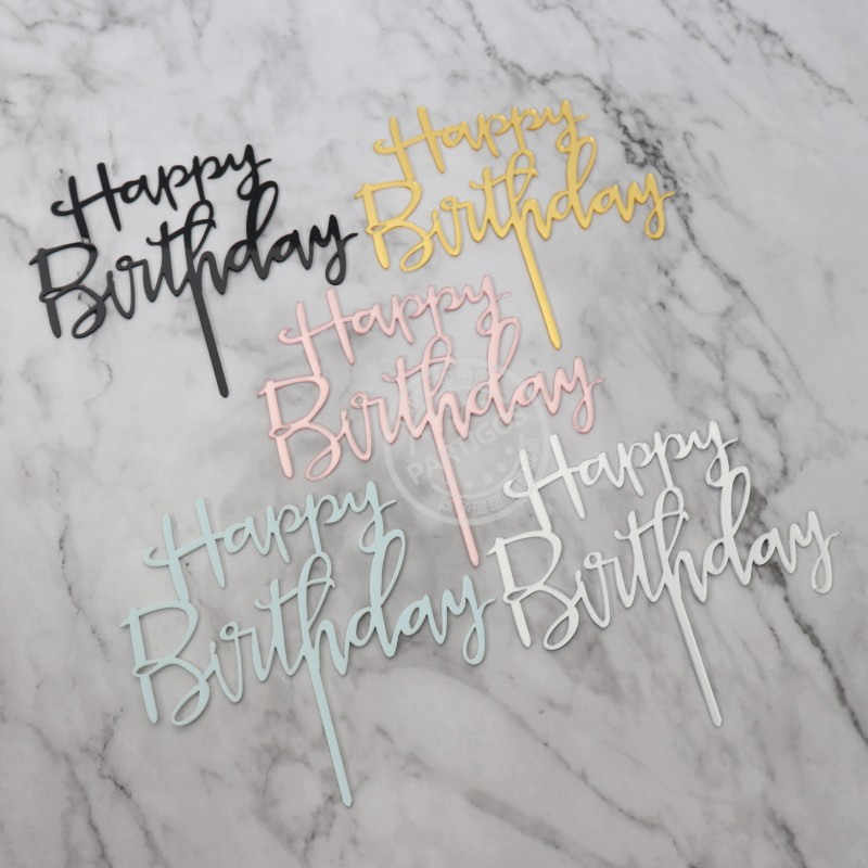 1pc ouro prata azul cupcake bolo topper feliz aniversário bolo superior bandeiras para o amor festa de aniversário da família cozimento decoração suprimentos