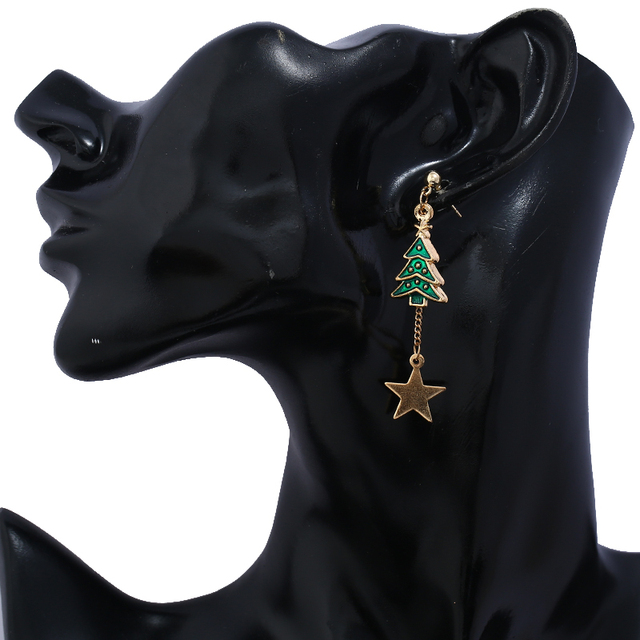 Christmas Stylish Snowman Tree Earrings.