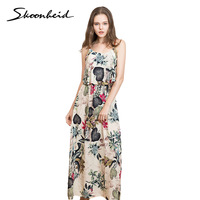 Skoonheid Women Summer Maxi Dresses Ladies Boho Beach Dress Sleeveless Spaghetti Strap Floral Print Vintage Rose