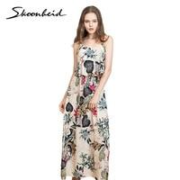 Skoonheid Women Summer Maxi Dresses Ladies Boho Beach Dress Sleeveless Spaghetti Strap Floral Print Vintage Rose