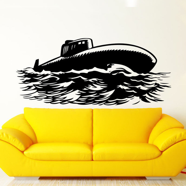 Navy Military Submarine Wall Stickers Living Room Removable Vinyl ...