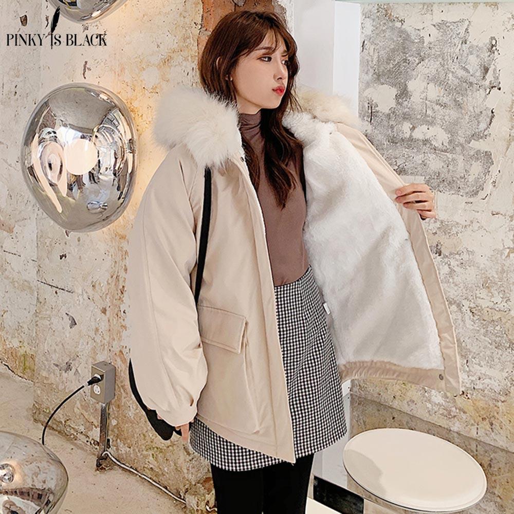 PinkyIsBlack Hardy Warm Lamb Liner Winter Coats Jackets Women Fur Hooded Casual Jackets Women Winter Thick   Parka   Short Outerwear