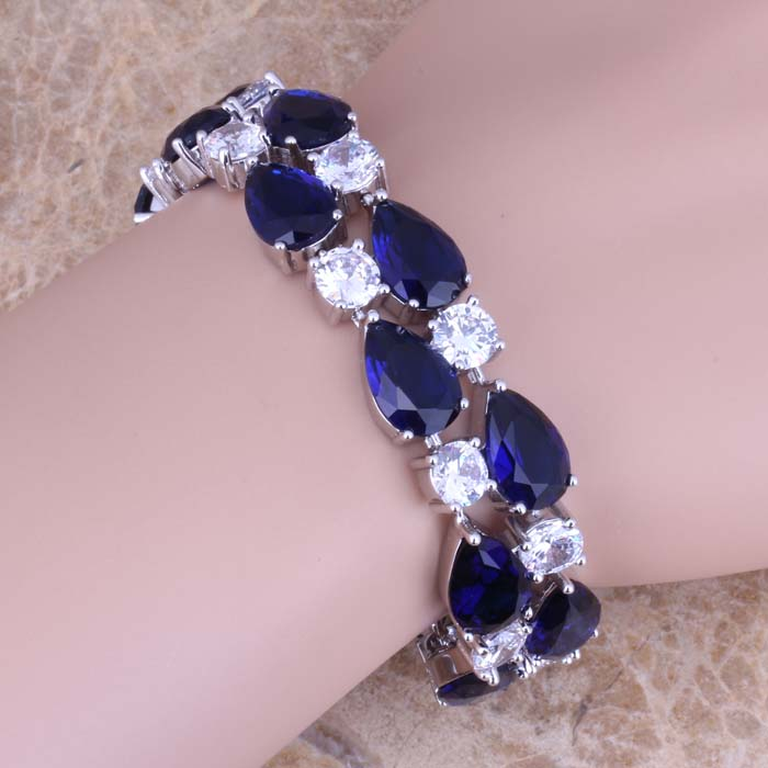 Gallant Blue Cubic Zirconia White CZ 925 Sterling Silver Link Chain Bracelet 7 - 8 inch S0672 925 sterling silver cz by the yard anklet bracelet 10