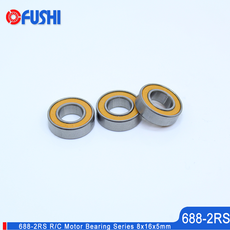 688-2RS Bearing 10PCS 8x16x5mm RC Motor Double Sealed Orange Miniature 688 RS Ball Bearing 688 2RS