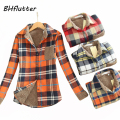 New Spring Winter 2016 Fashion Women Casual Plaid Shirt Turn down Collar Warm Long Sleeve Blouse Women's Vintage Tops & Tess