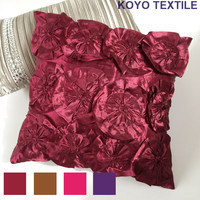 Modern Fashion Luxury Decorative 3D Handmade Leaf Flower Satin Silk Sofa Cushion Cover Throw Pillow Cover