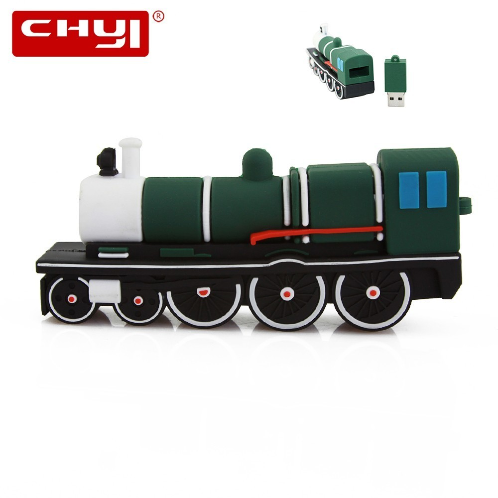 CHYI Cartoon Green Train USB Flash Drive 64GB 32GB 16GB 8GB 4GB Steam Locomotive Memory Stick Pen Drive Key U Disk USB pen Drive