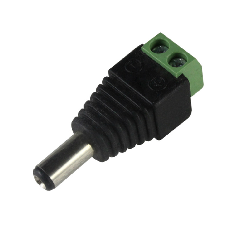 CCTV Cameras 2.1mm X 5.5mm Male DC Connector Power Plug Adapter For Single Color LED Strip Light Surveillance Accessories