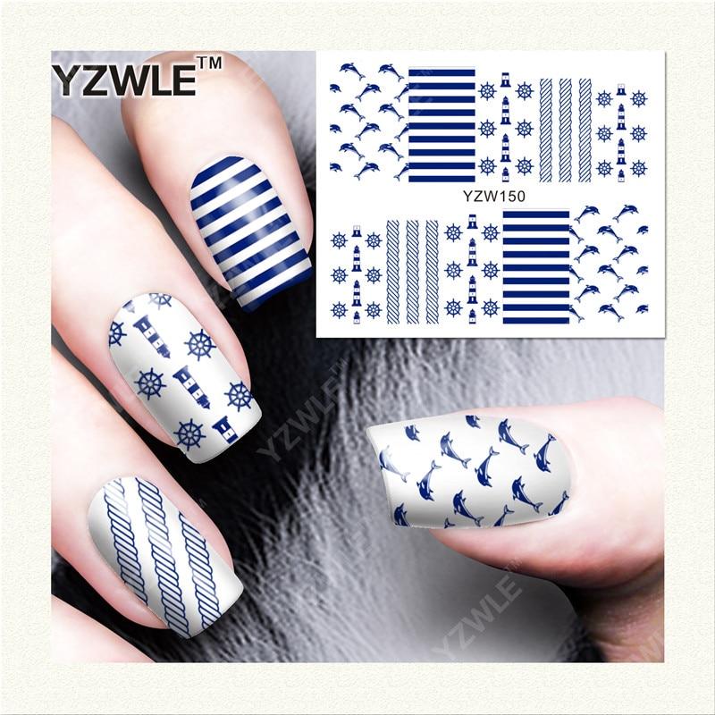 YZWLE  1 Sheet DIY Designer Water Transfer Nails Art Sticker / Nail Water Decals / Nail Stickers Accessories (YZW-150) yzwle 1 sheet diy designer water transfer nails art sticker nail water decals nail sticker accessories yzw 8088