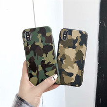 Army Green Camouflage Case For iPhone X 6 6S 7 8 Plus XR XS Max Soft TPU Silicone Phone Cases 3D Embossed Back Cover