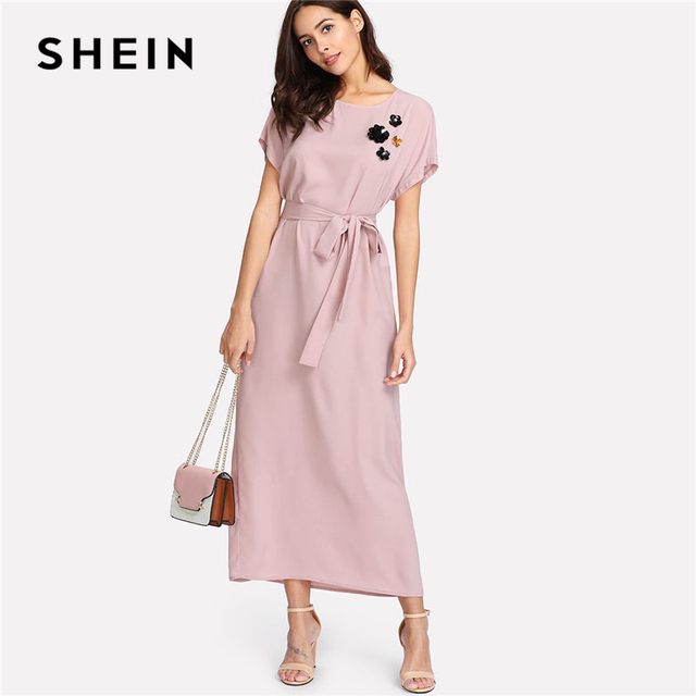 Aliexpress Com Buy Shein Rhinestone Ans Faux Fur: Aliexpress.com : Buy SHEIN Pink Flower Applique Dolman