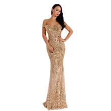 Sexy bra party Floor-Length dress Solid Elegant Sequined Vestidos sequin maxi Off the Shoulder dresses Summer