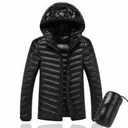 2018 Men Hooded ultraLight White Duck Down Jacket Warm Jacket Line Portable Package men pack jacket