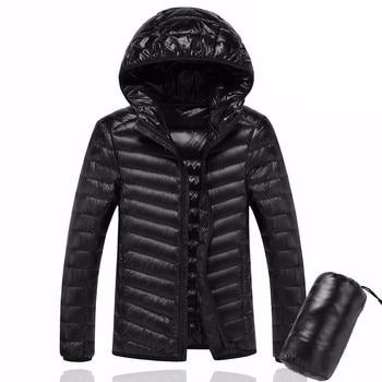 2020 Men Hooded ultraLight White Duck Down Jacket Warm Jacket Line Portable Package men pack jacket