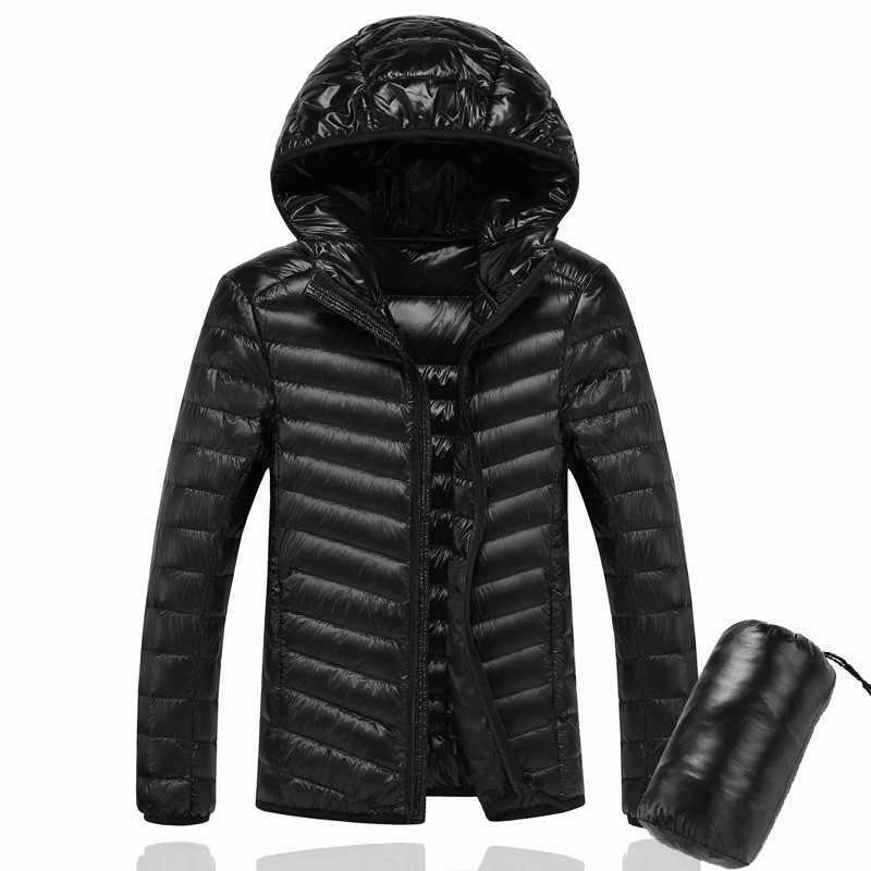 2020 남성 후드 초경량 화이트 오리 자켓 웜 자켓 라인 휴대용 패키지 남성 팩 자켓