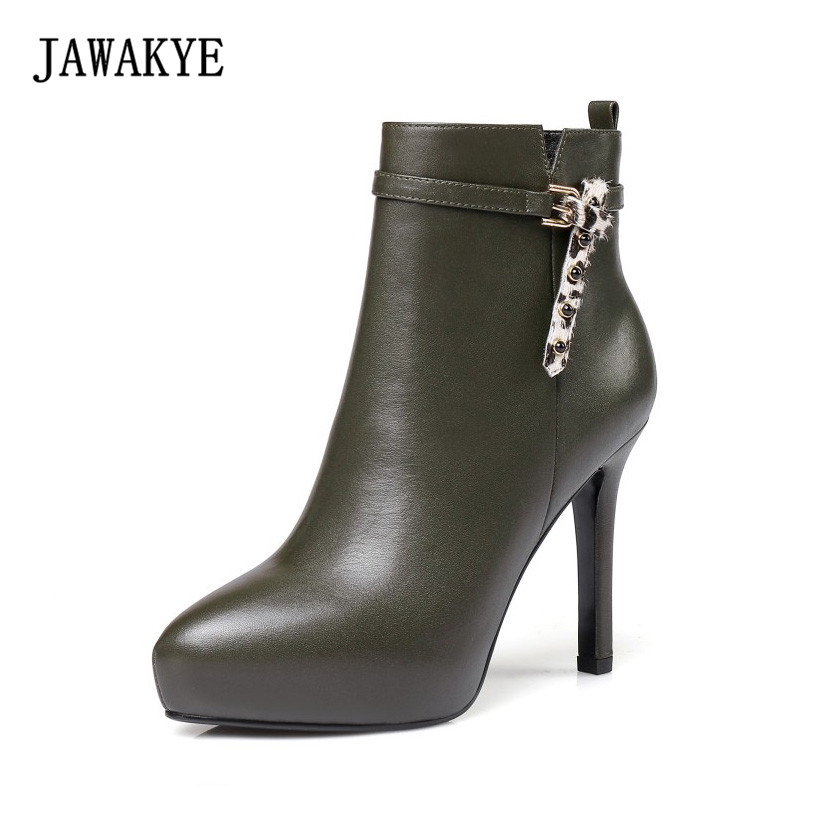JAWAKYE New Sexy Platform Ankle Boots Women Side Zipper Girls High Heels Genuine Leather Winter Shoes Boots for Women