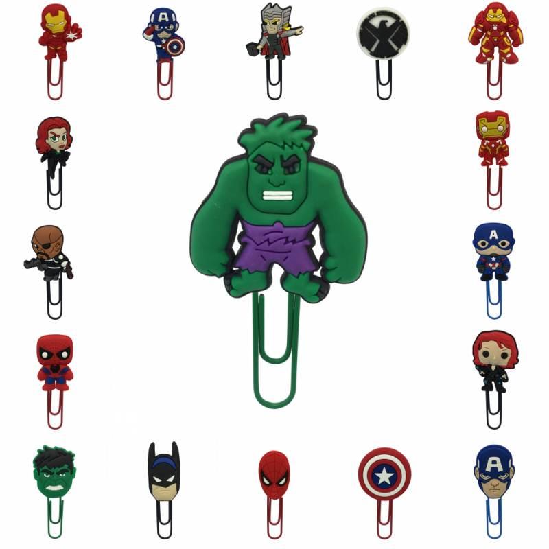 1pcs pvc cartoon bookmark Figure Iron Man Marvel Avenger Book marks metal paper clip School Office Supplies Anime Thor Hulk thor the mighty avenger