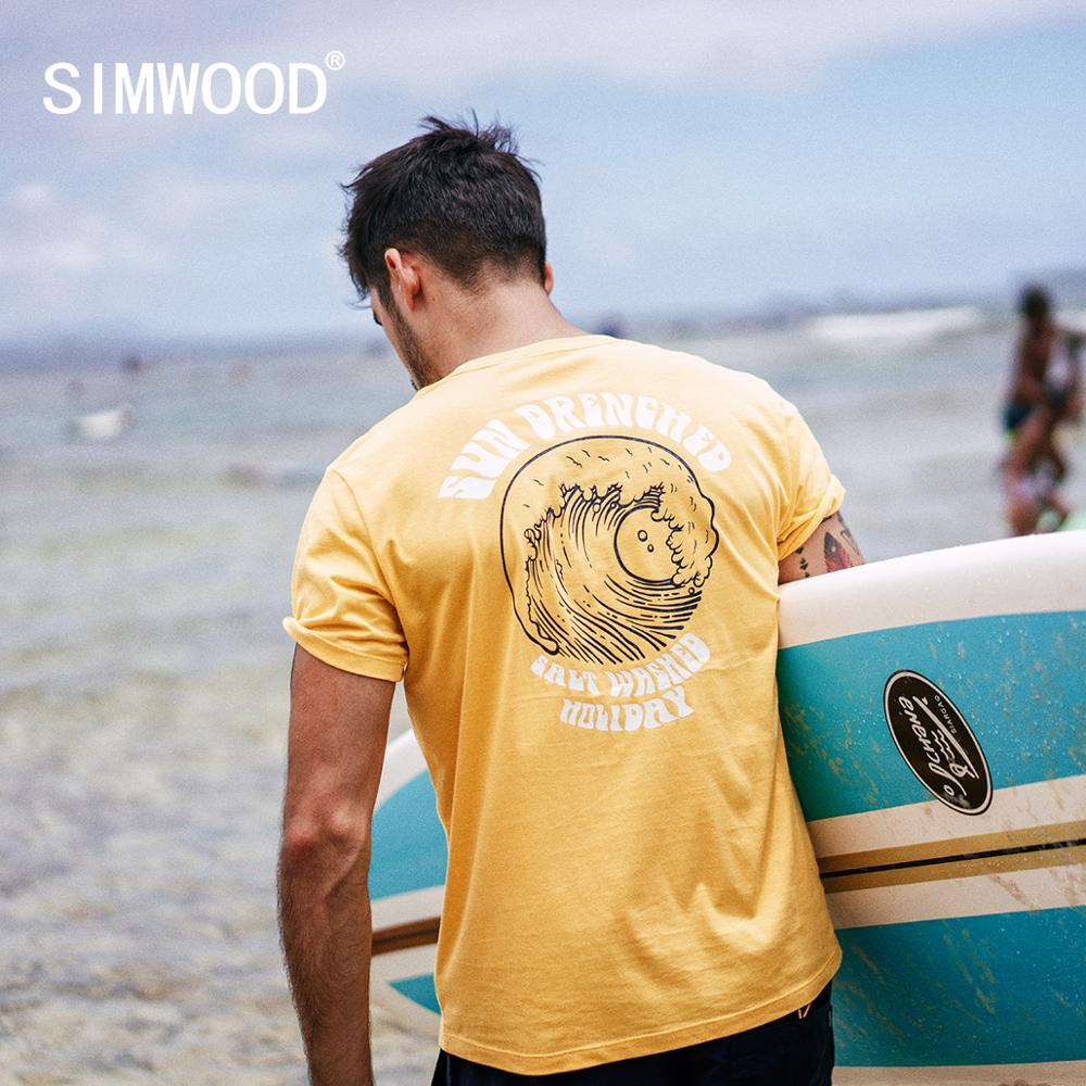 SIMWOOD 2020 Summer New Vacation T Shirt Men Causal Beach 100% Cotton T-shirt Sea Wave Print Thin Fashion Tops 190305
