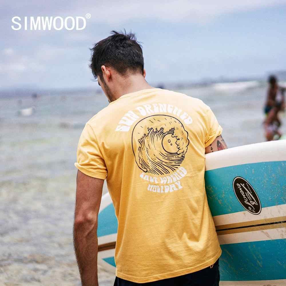 Simwood 2019 verão novo férias t camisa masculina causal praia 100% algodão camiseta onda do mar impressão fina moda topos 190305