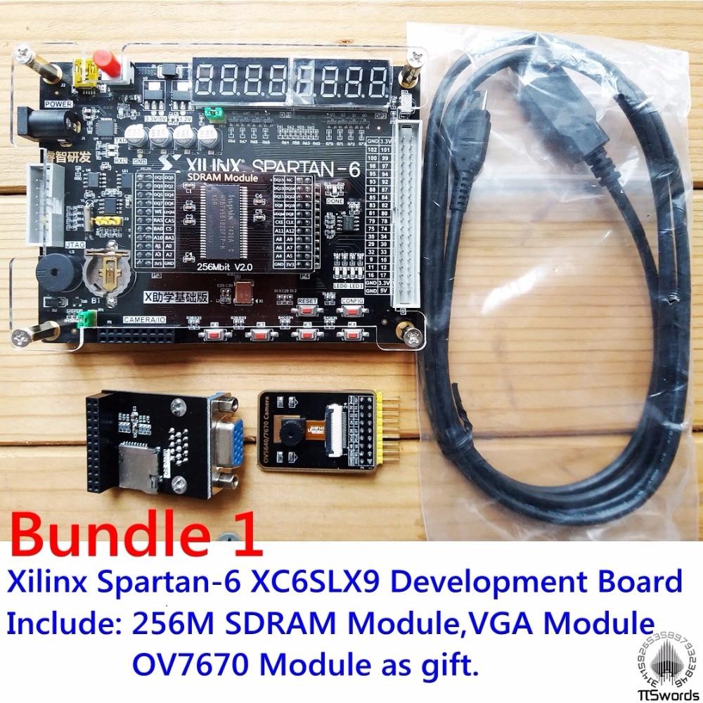 Xilinx spartan 6 FPGA development board Xilinx spartan6 XC6SLX9 with 256Mb SDRAM module OV7670 Camera VGA