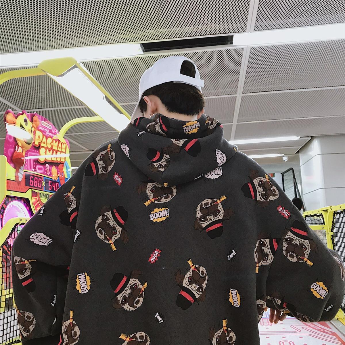 2018 hommes marque de mode vêtements pull dessin animé impression mâle sweat à capuche coton pulls décontractés blanc/gris manteaux M-XL - 2