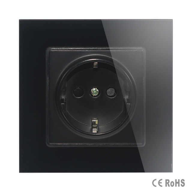 MiniTiger קיר גביש זכוכית פנל כוח שקע תקע מוארק, 16A האירופי תקן חשמל לשקע 86mm * 86mm