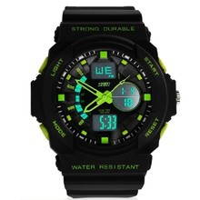 New Man Hot Selling Fashion Design 50m Wrist Quartz Digital Watch Multifunctional LED Digit Double Time rubber Clock Alarm
