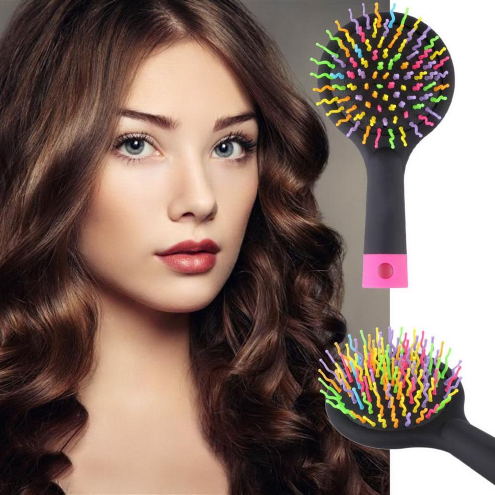 20% Kommen Magic Hair Comb Brush Rainbow Volume Styling Tools Anti Tangle Anti-static Head Massager Hairbrush With Mirror smrp