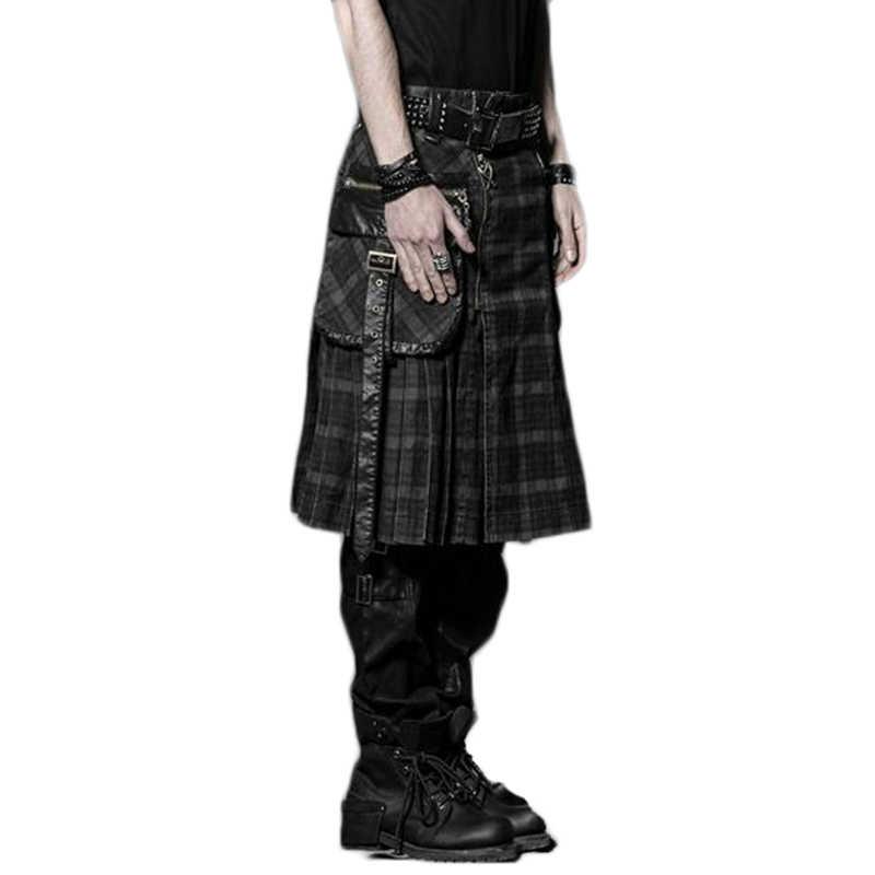 Punk Winter Men Loose Skirt With Pockets Scottish Kilt Gothic Ghost Head Zipper Plait Skirt Scotland Tartan Trousers