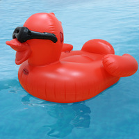190cm Red Duck with Sunglasses Floats Giant Ride on Inflatable Boat Pool Party Summer Fun Toys Air Mattress Swimming Ring boia