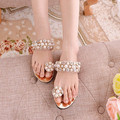 2016 Hot sale summer new Women shoes fashion set diamond pearl beaded toe Women sandals gold shoes sandals