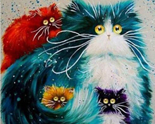 Frameless Picture Lovely cats DIY Painting By Numbers Modern Wall Art Handpainted Oil On Canvas For Home Decor