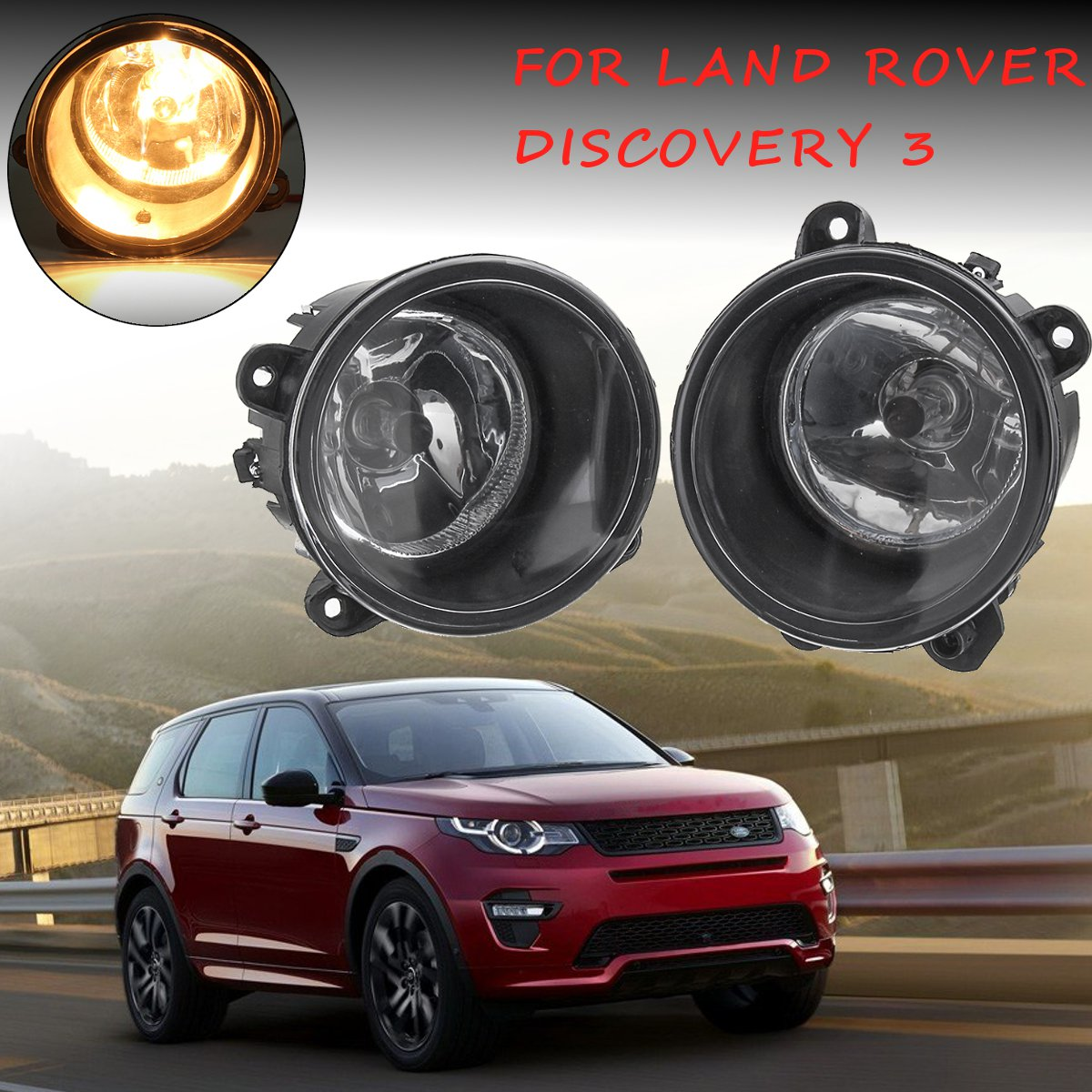 Pair Of Clear Front Indicator Lights For Land Rover: 1Pair Clear Front Fog Lights Right&Left W/ H11 Bulbs For