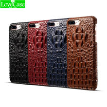 LoveCase 100% Genuine leather 3D relief crocodile pattern phone back cover for iPhone 6 6s 7 plus luxury high quality phone case