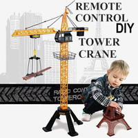 Four channel Remote Control Flash Tower Crane Children's Toys Arbitrary Assembly Height 680 Degree Rotation Simulation Model