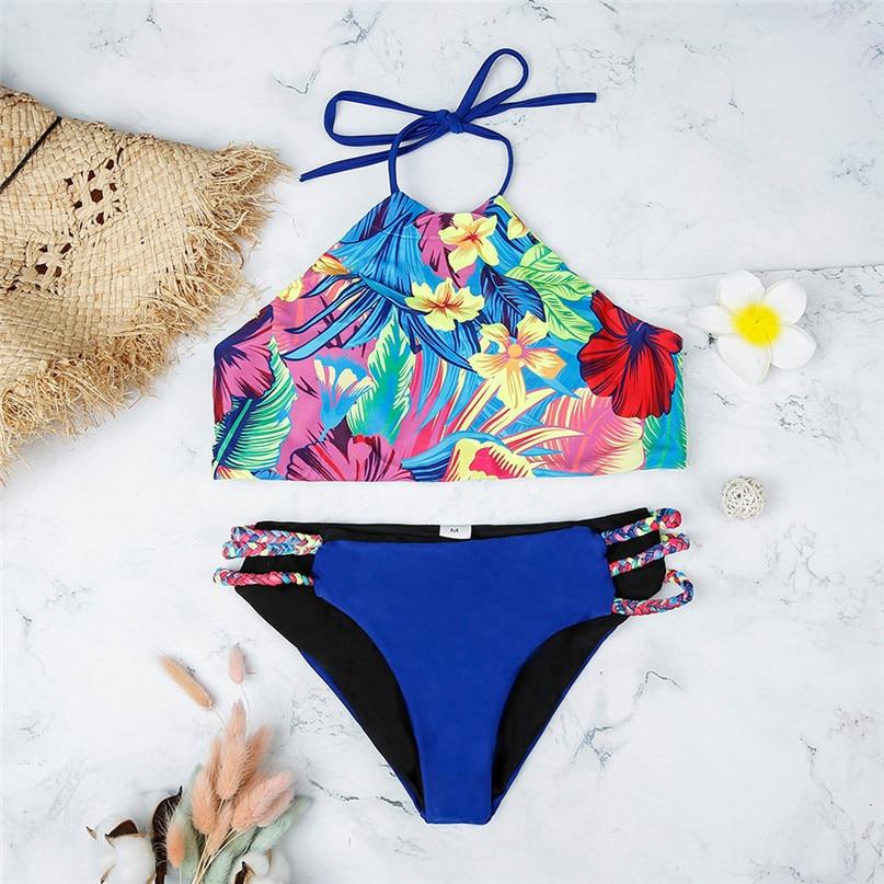 Up Mujer Estampado Bikinis Verano Halter Piezas Sexy 2019 Trajes Bañador Push Bikini Baño Dos De CerdWxBo