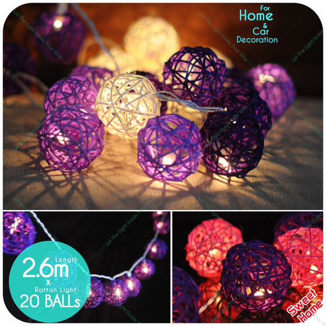 decoration diy 20 leds rattan ball white pink purple christmas lights tree ornament indoor home party