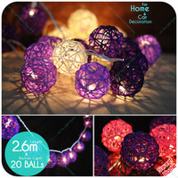20 Leds White Pink Purple Rattan Ball Lights Christmas Tree Ornament Home Party Wedding Supplies Decoration