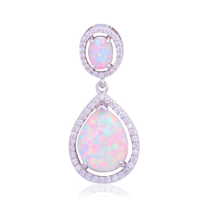 29mm Designers Anniversaire Blanc Opale de Feu De Mode bijoux timbre Argent Collier Pendentifs pour femmes OP471B