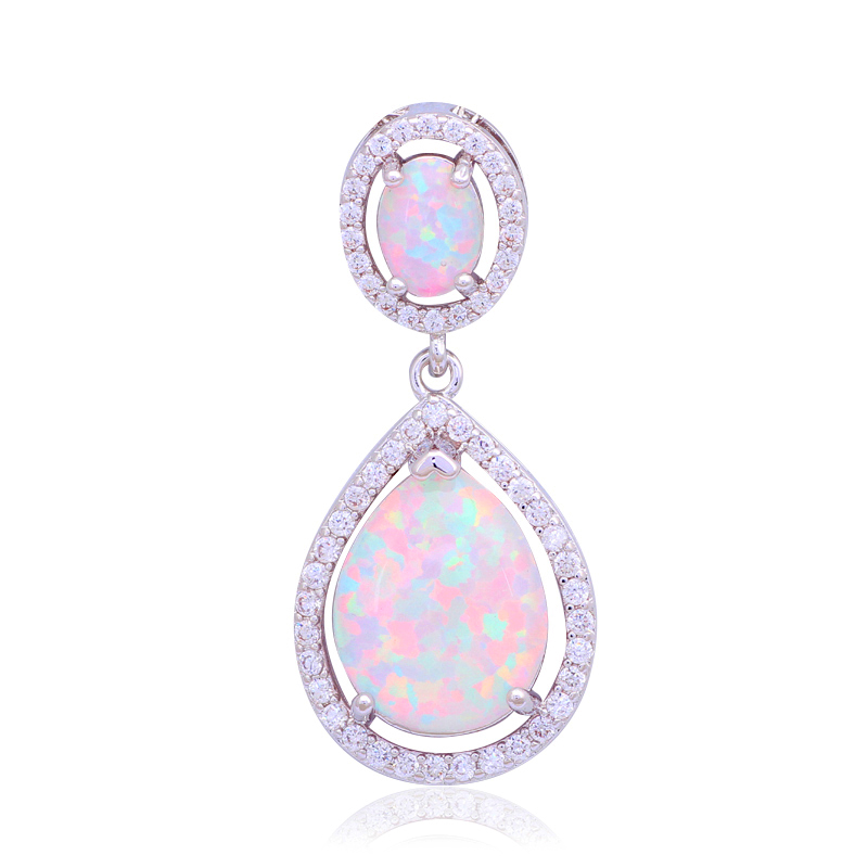 29mm Designers Anniversary White Fire Opal Fashion jewelry stamp Silver Necklace Pendants for women OP471B