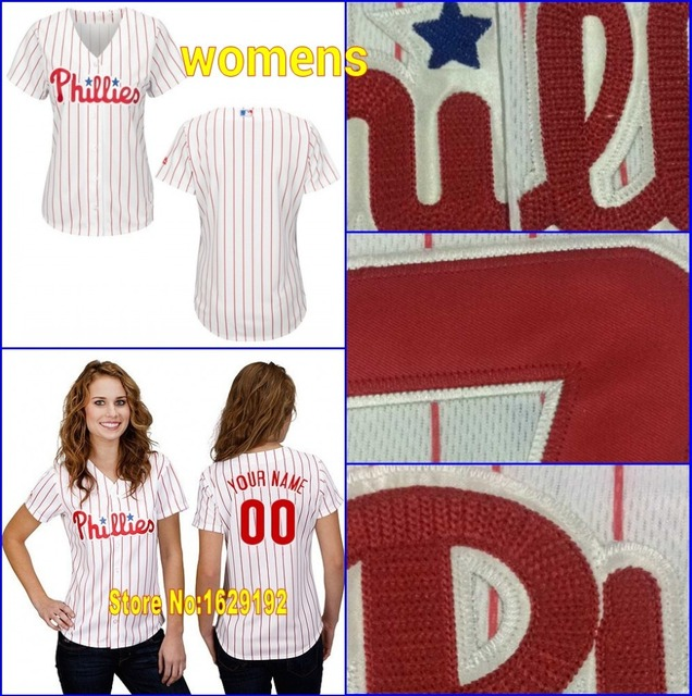 Cheap Custom Philadelphia Phillies Womens  Blank Personalized Any Name  Number Authentic Girls Baseball Jerseys Shirts Stitched 32fef086103