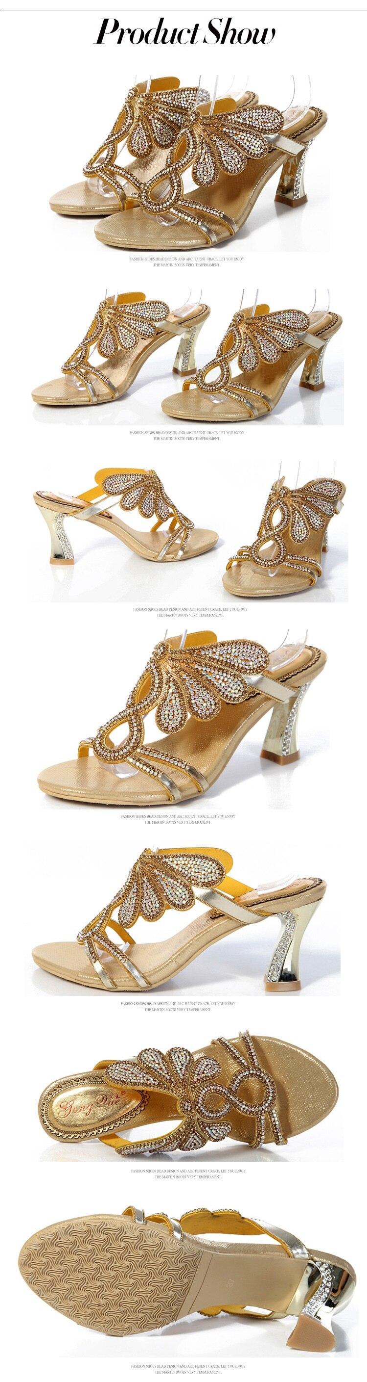 ... 2016 New Golden Luxury Diamond High Heels Slippers Online Shopping Peep  Toe Womens Shoes Sandals Sale ... e3fbc5f6ddfa