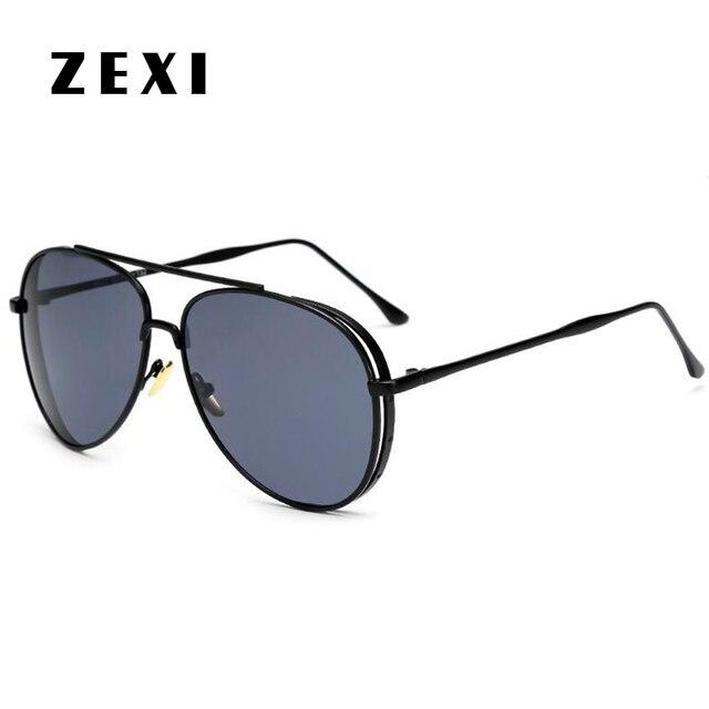 afa2c44af4ced ZEXI Noir Pilote Aviator lunettes de Soleil Hommes Polarisées Mercedes  Surdimensionné Lunettes Rondes Miroir Réfléchissant Lunettes