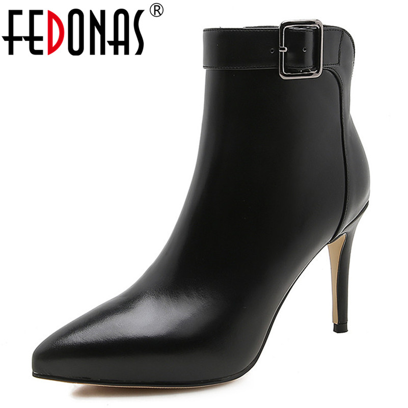 FEDONAS Fashion Women New Prom Party Shoes Woman Thin High Heels Autumn Winter Ankle Boots Sexy Pointed Toe Office Pumps new women pumps transparent wedges high heels ankle pointed toe high heels pring autumn sexy shoes woman platform pumps