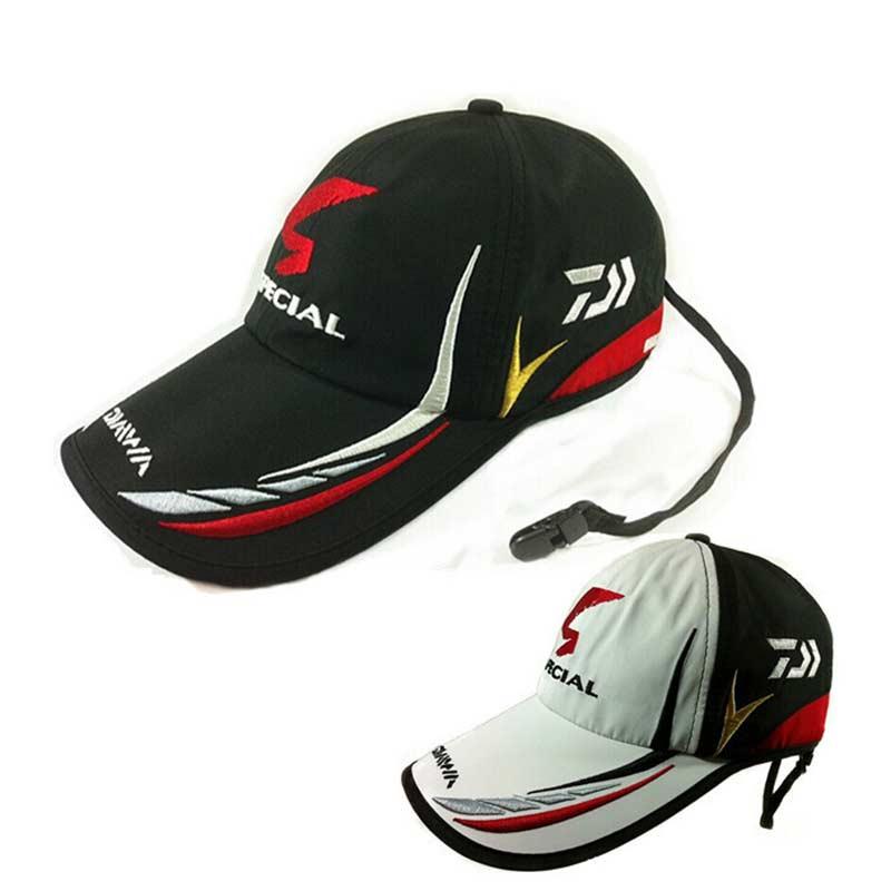 Erwachsene Männer Einstellbar Atmungs Angeln Daiwa Japan Sonnenschirm Sport Baseball Fischer Hut Kappe Schwarz Speziellen Eimer Hut Mit Logo