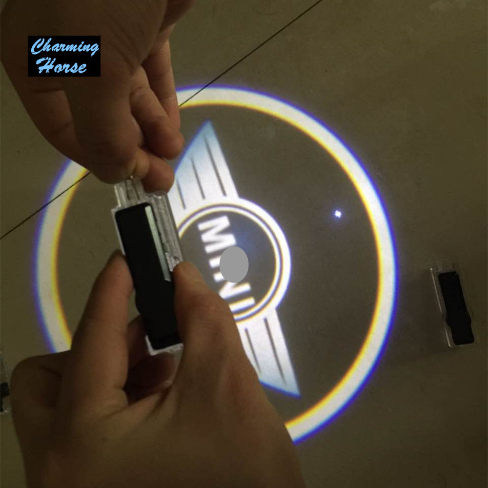LED Car Door Welcome Light Laser Shadow led Projector For Mini countryman clubman cooper one S F55 F56 R55 R56 for mini cooper r56 s r50 r53 antenna f56 countryman f55 r55 r60 r52 with mini logo car seat gap pad plug leak cover accessories