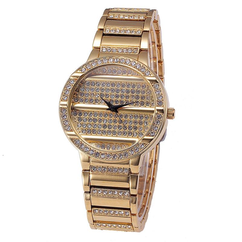 Brand Luxury golden diamond Watches Fashion Quartz Ladies Stainless Steel Bracelet Watch Casual Clock montre Femme reloj mujer