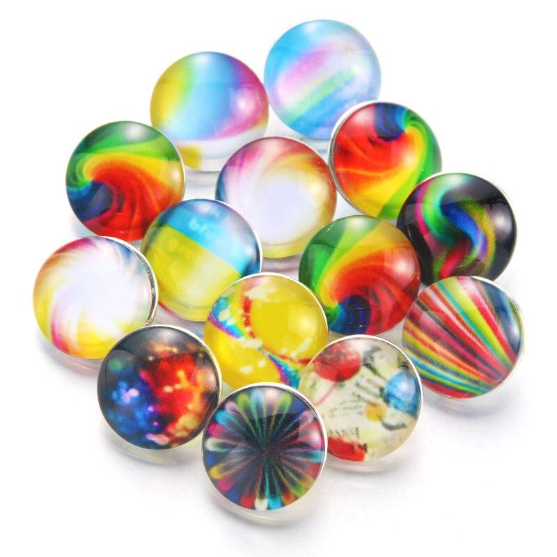 10 шт./лот, смешанные цвета и узор, 18 мм, стеклянные кнопки, ювелирное изделие, граненое стекло, оснастка, подходят, оснастки, серьги, браслет, ювелирное изделие - Окраска металла: 020915